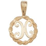 9ct Gold Round rope edged Initial letter X pendant 0.8g
